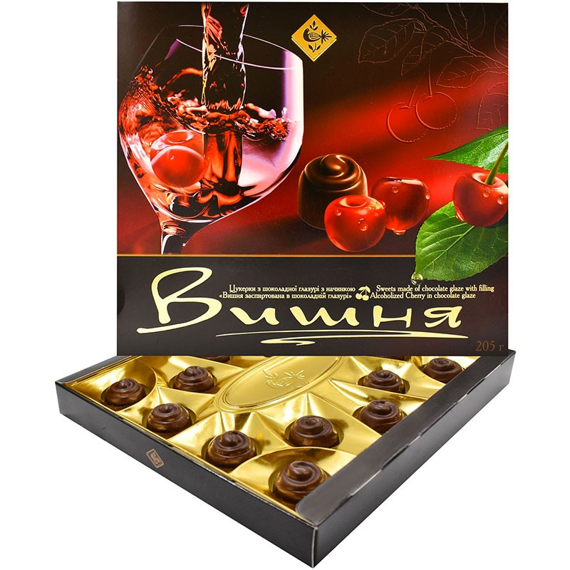 """Подарочный набор конфет """"Вишня заспиртована в шоколадній глазурі"""" житомирской кондитерской фабрики"""